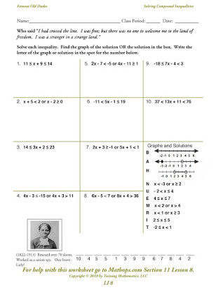 Inequality Number Line Worksheet Graphing Pound Inequalities Free Worksheets