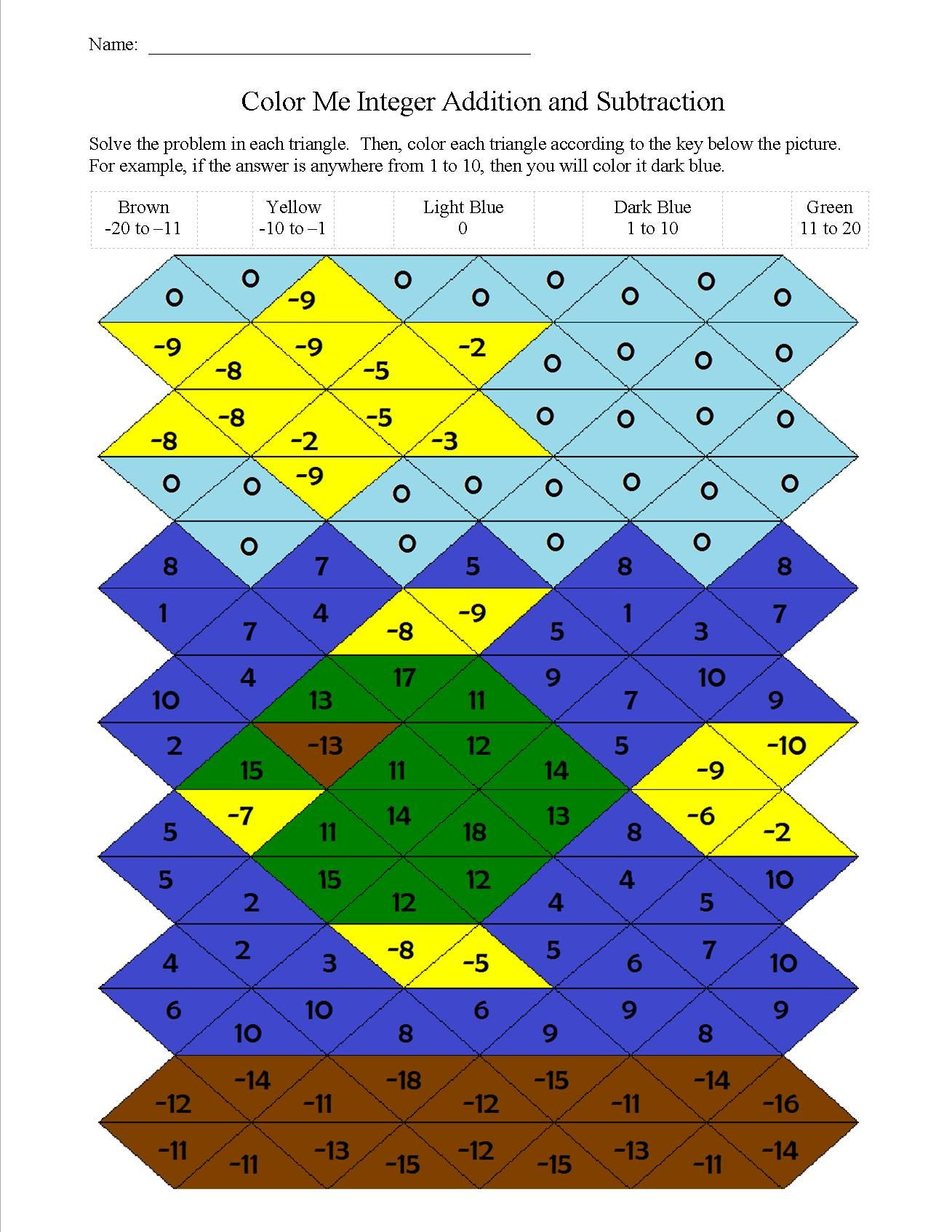 Integer Color by Number Worksheets Answer Key for the Color by Number Addition and Subtraction