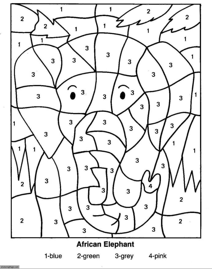 Integer Color by Number Worksheets Color by Numbers Elephant Coloring for Kids Printable Math