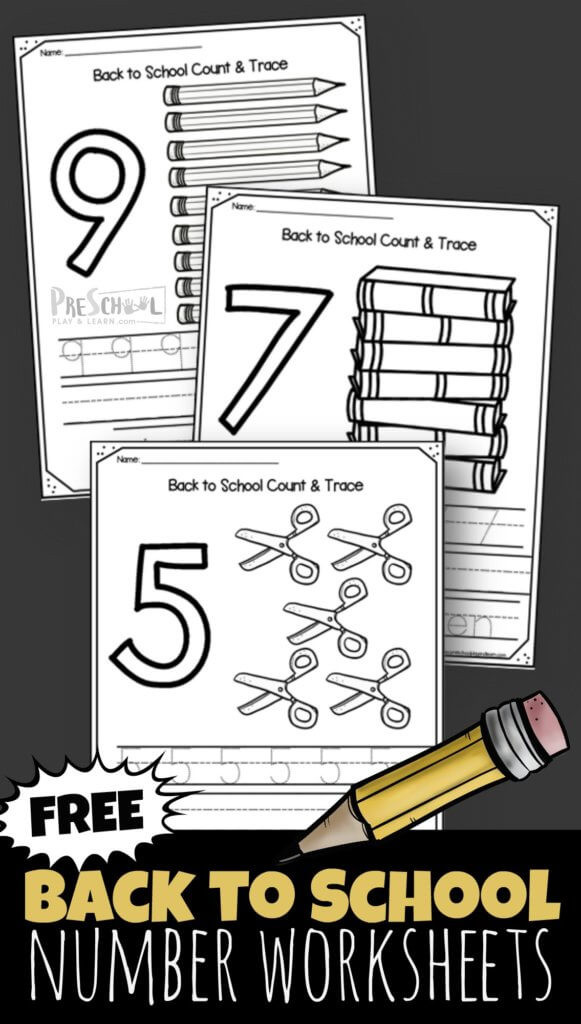 Kindergarten Number Worksheets 1 10 Free Back to School 1 10 Number Worksheets