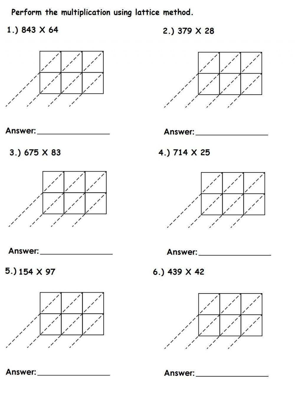 Lattice Method Multiplication Worksheet Lattice Multiplication Exercise