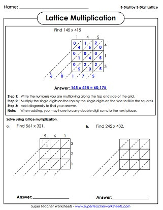 Lattice Method Multiplication Worksheet Lattice Multiplication Worksheets