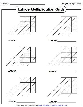 Lattice Method Multiplication Worksheets Lattice Grid Printables Multiplication