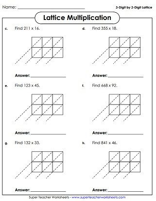 Lattice Method Multiplication Worksheets Lattice Multiplication Worksheets