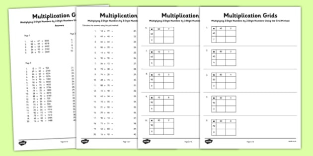 Lattice Method Multiplication Worksheets Multiplying 2 Digit Numbers by 2 Digit Numbers Using Grid