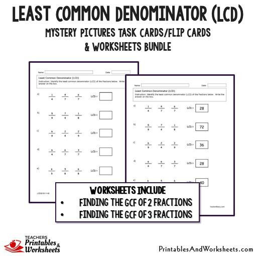 Least Common Multiple Fractions Worksheet Least Mon Denominator Lcd Task Cards and Worksheets Bundle