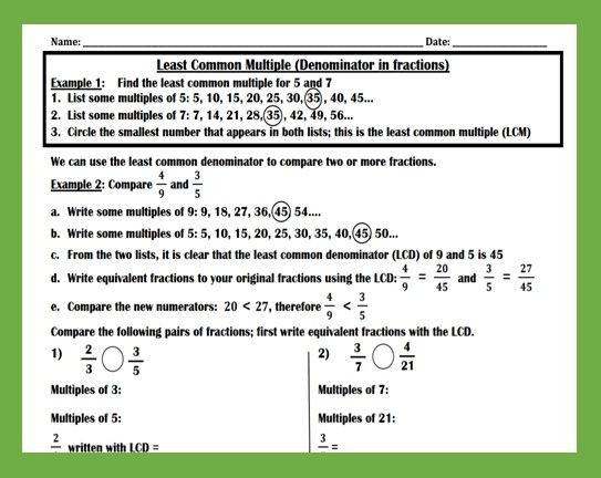 Least Common Multiple Fractions Worksheet Least Mon Denominator Paring Fractions Worksheet