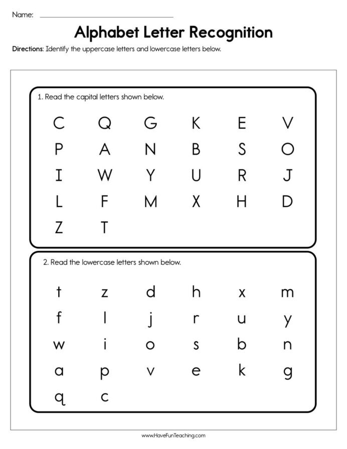 Letter A Recognition Worksheets Alphabet Letter Recognition assessment Have Fun Teaching