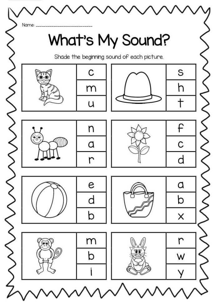 Letter A sound Worksheets Beginning sounds Printable Worksheet Pack Kindergarten