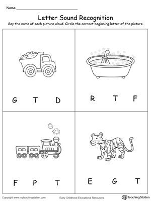Letter A sound Worksheets Recognize the sound Of the Letter T
