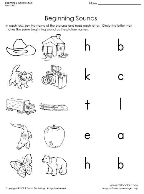 Letter C Phonics Worksheets Beginning sounds Of H C T A and B