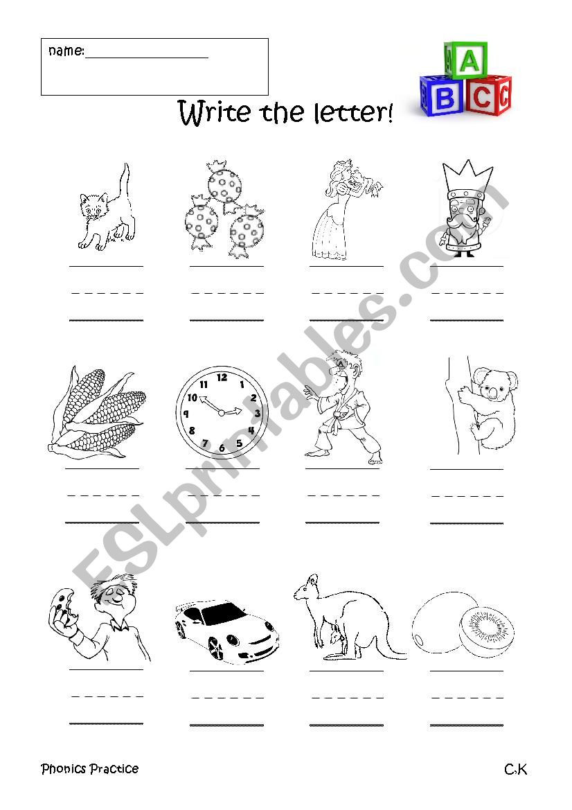 Letter C Phonics Worksheets Phonics Practice C and K Esl Worksheet by Jawful