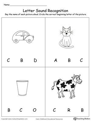 Letter C Phonics Worksheets Recognize the sound Of the Letter C