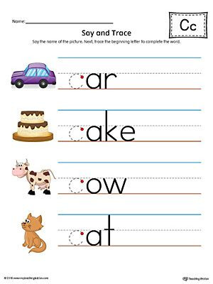 Say and Trace Letter C Beginning Sound Words Worksheet