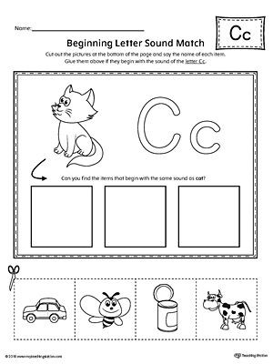 Letter C Worksheets for Kindergarten Letter C Beginning sound Picture Match Worksheet