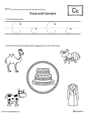 Trace Letter C and Connect Worksheet