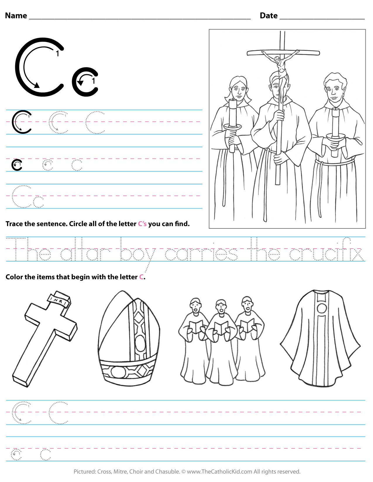 Letter C Worksheets Kindergarten Catholic Alphabet Letter C Worksheet Preschool Kindergarten