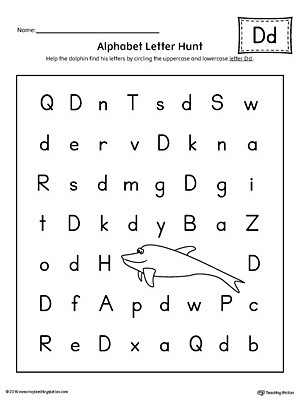 Alphabet Letter Hunt Letter D Worksheet