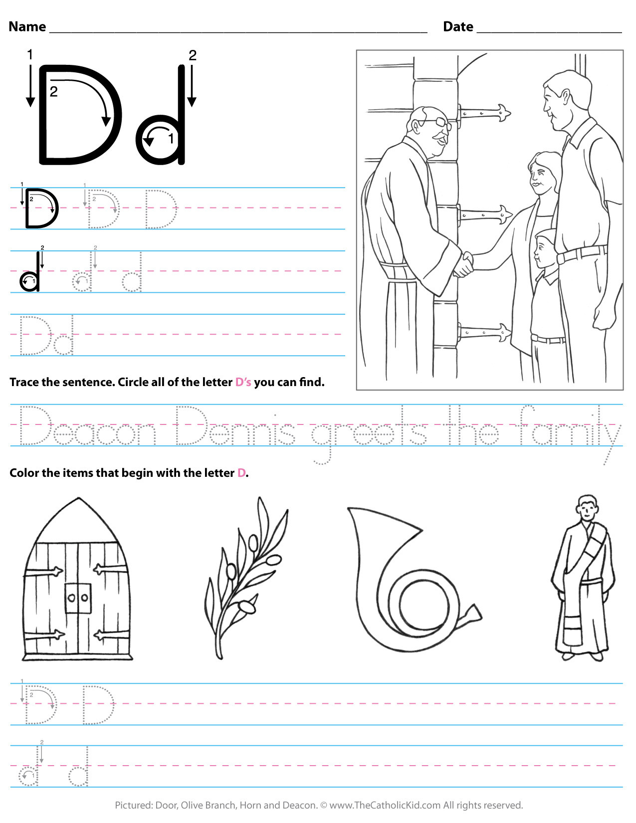 catholic alphabet letter d worksheet preschool kindergarten cnt mls