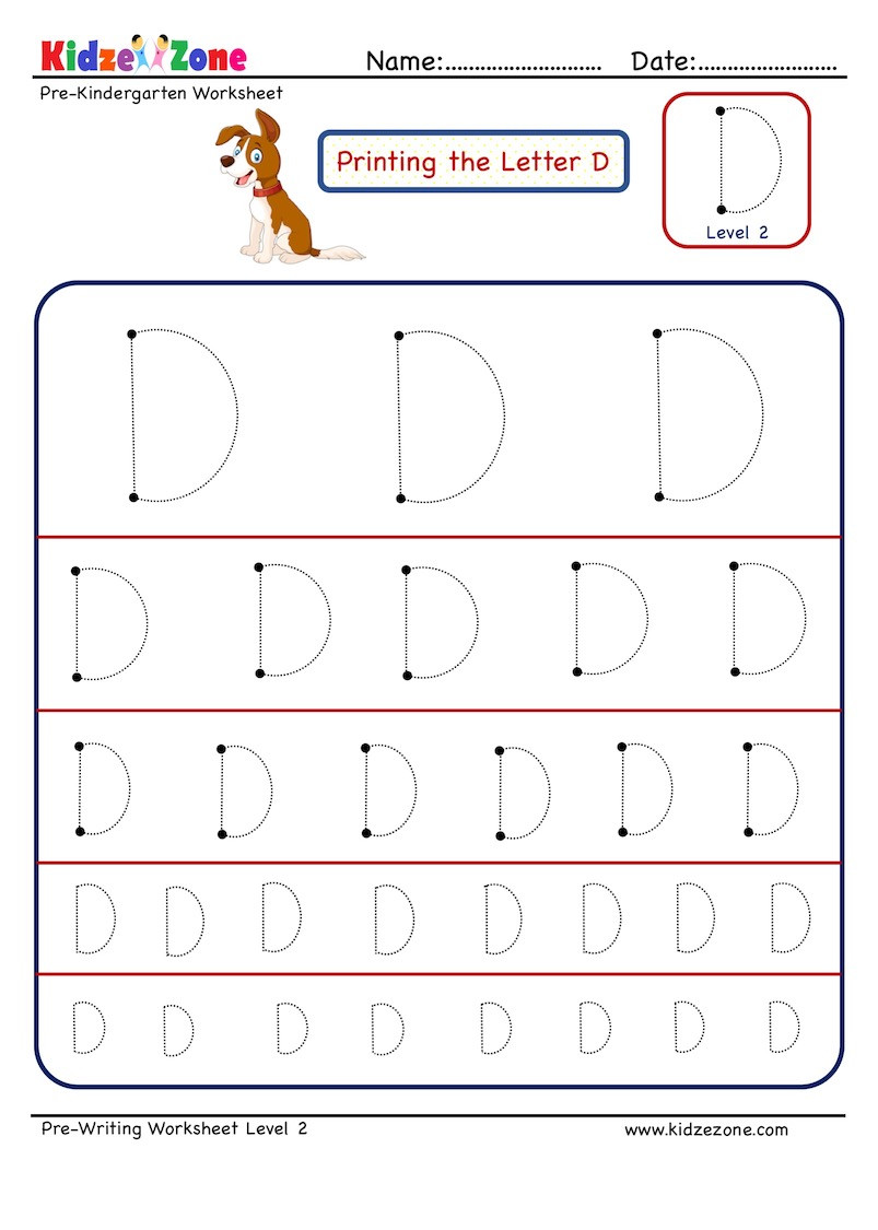 Letter D Worksheets Kindergarten Letter D Tracing Worksheet Different Sizes Kidzezone