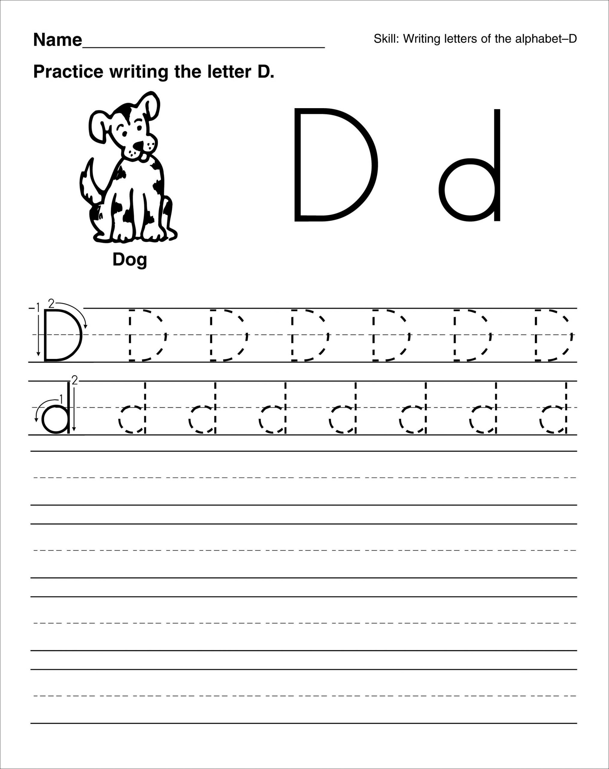 Letter D Worksheets Kindergarten Trace Letter D Worksheets