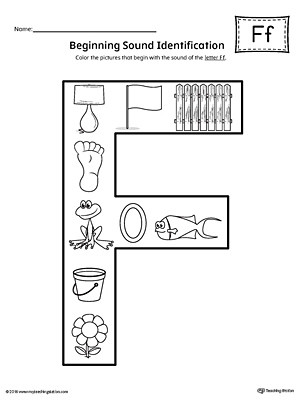 Letter F Beginning Sound Color Worksheet