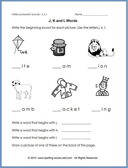 phonics worksheet jkl