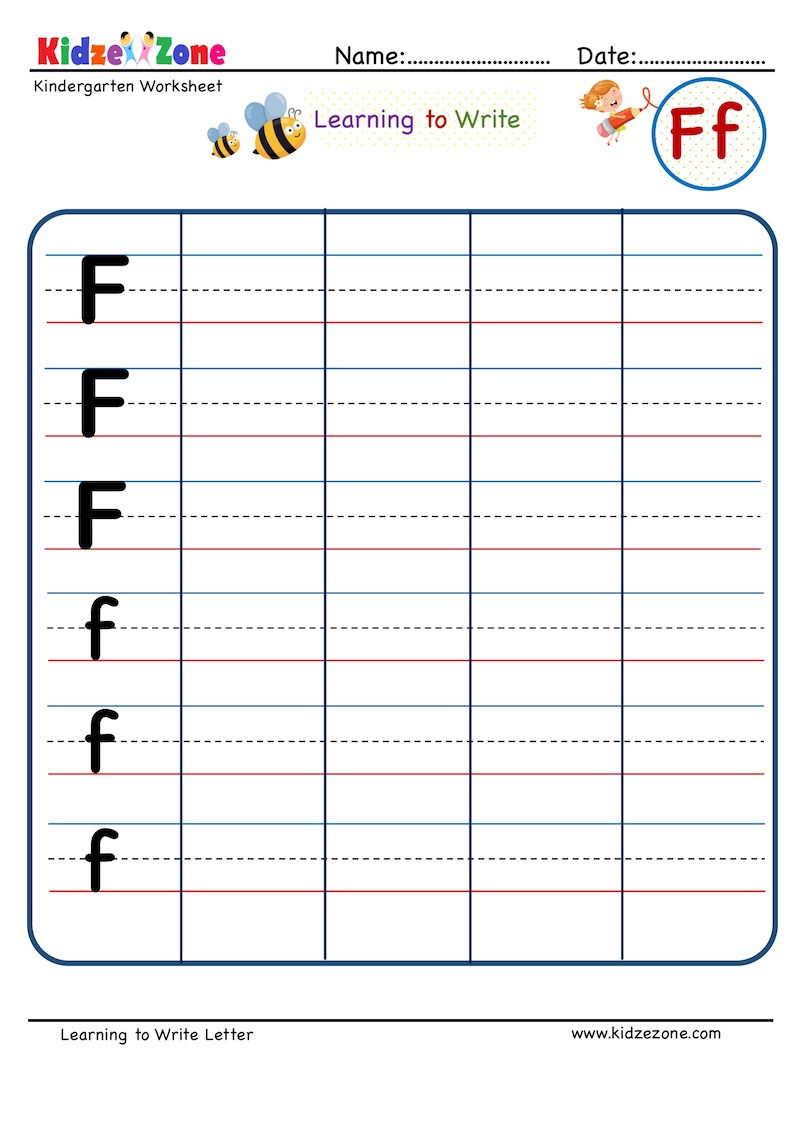 Letter F Worksheet for Kindergarten Kindergarten Letter F Writing Worksheet Kidzezone