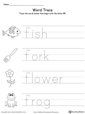 Letter F Worksheets Preschool Trace Words that Begin with Letter sound F
