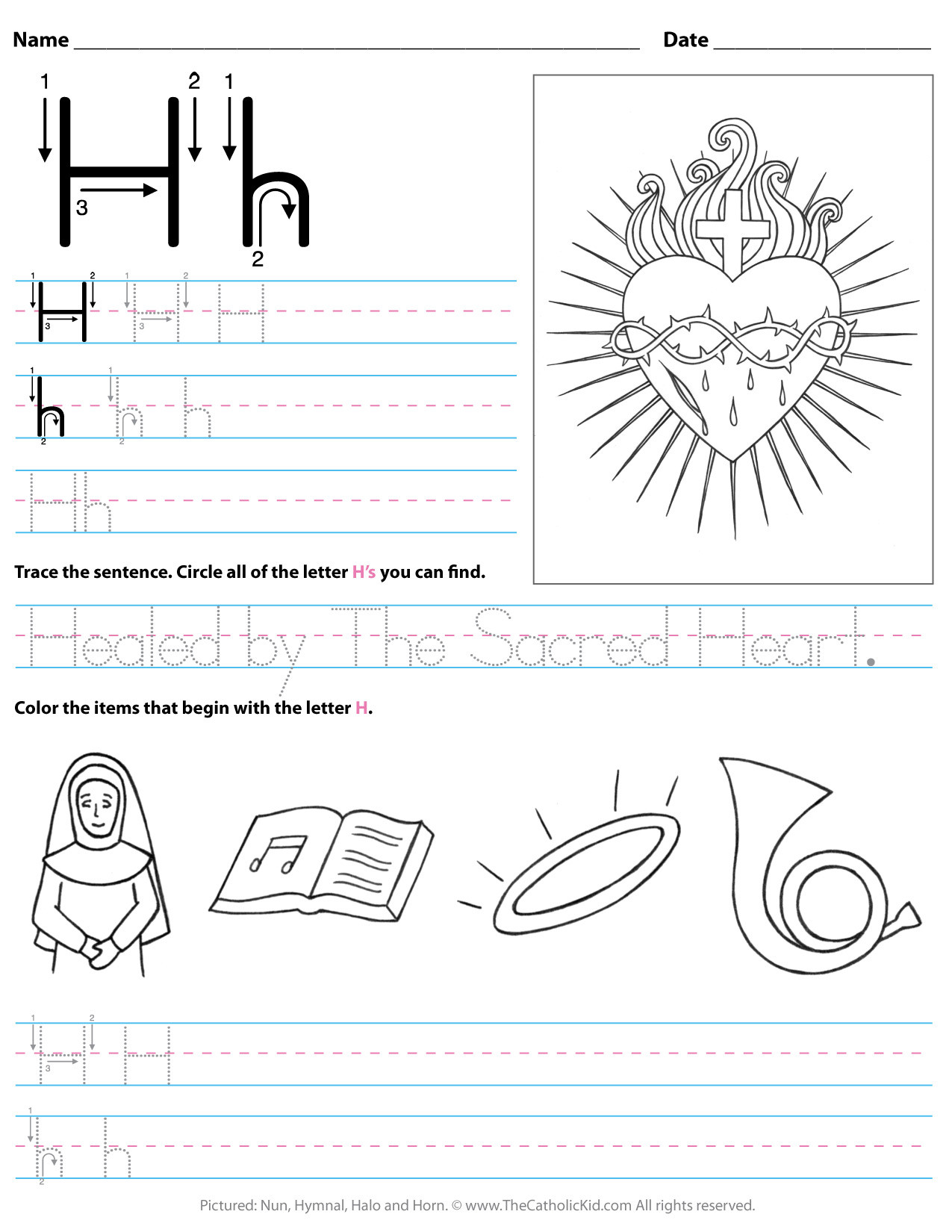 catholic alphabet letter h worksheet preschool kindergarten cnt mls