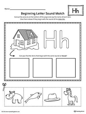 Letter H Worksheets Kindergarten Letter H Beginning sound Picture Match Worksheet