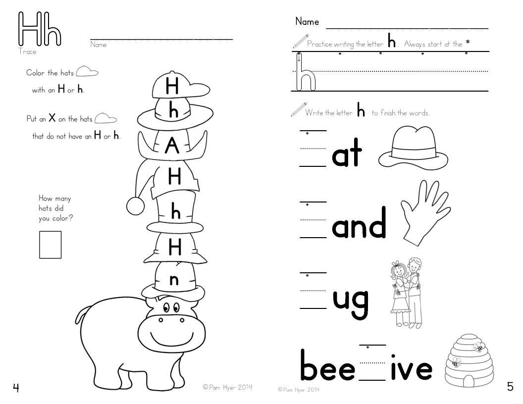 Letter H Worksheets Kindergarten Letter H Worksheet Learning My Letters Booklet by Pam Hyer