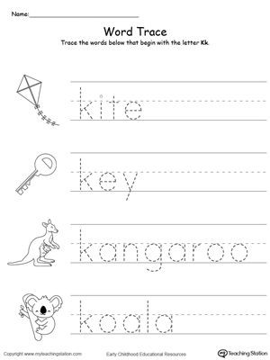 Letter K sound Worksheets Trace Words that Begin with Letter sound K