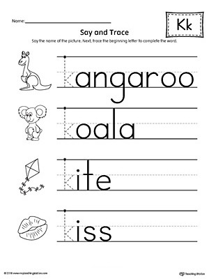 Letter K Beginning Sound Words Say and Trace Worksheet