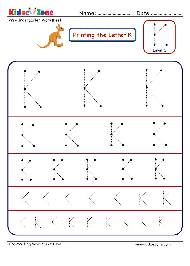 Pre Writing Letter K Tracing worksheet Different Sizes