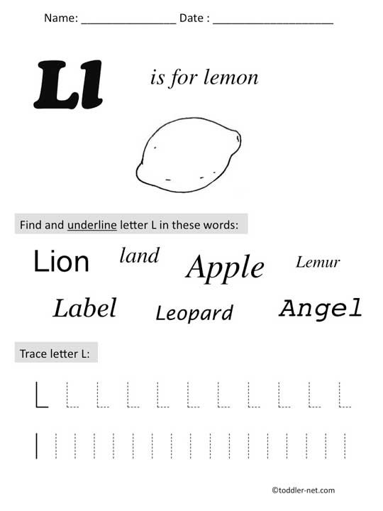 Letter L Preschool Worksheet Free Printable Letter L Preschool Worksheet