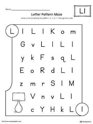 Letter Pattern Maze Letter L Worksheet