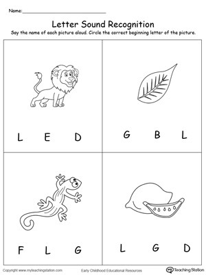 Letter L Preschool Worksheet Recognize the sound Of the Letter L