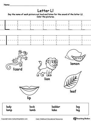 Letter L Preschool Worksheet Words Starting with Letter L