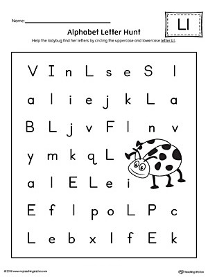 alphabetol worksheets incredible letter hunt l worksheet for kindergarten free