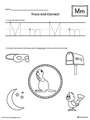 Trace Letter M and Connect Worksheet