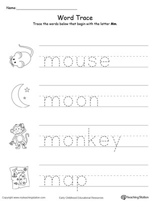Tracing Words That Begin With Letter Sound M