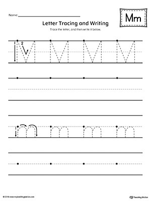 Letter M Tracing and Writing Printable Worksheet
