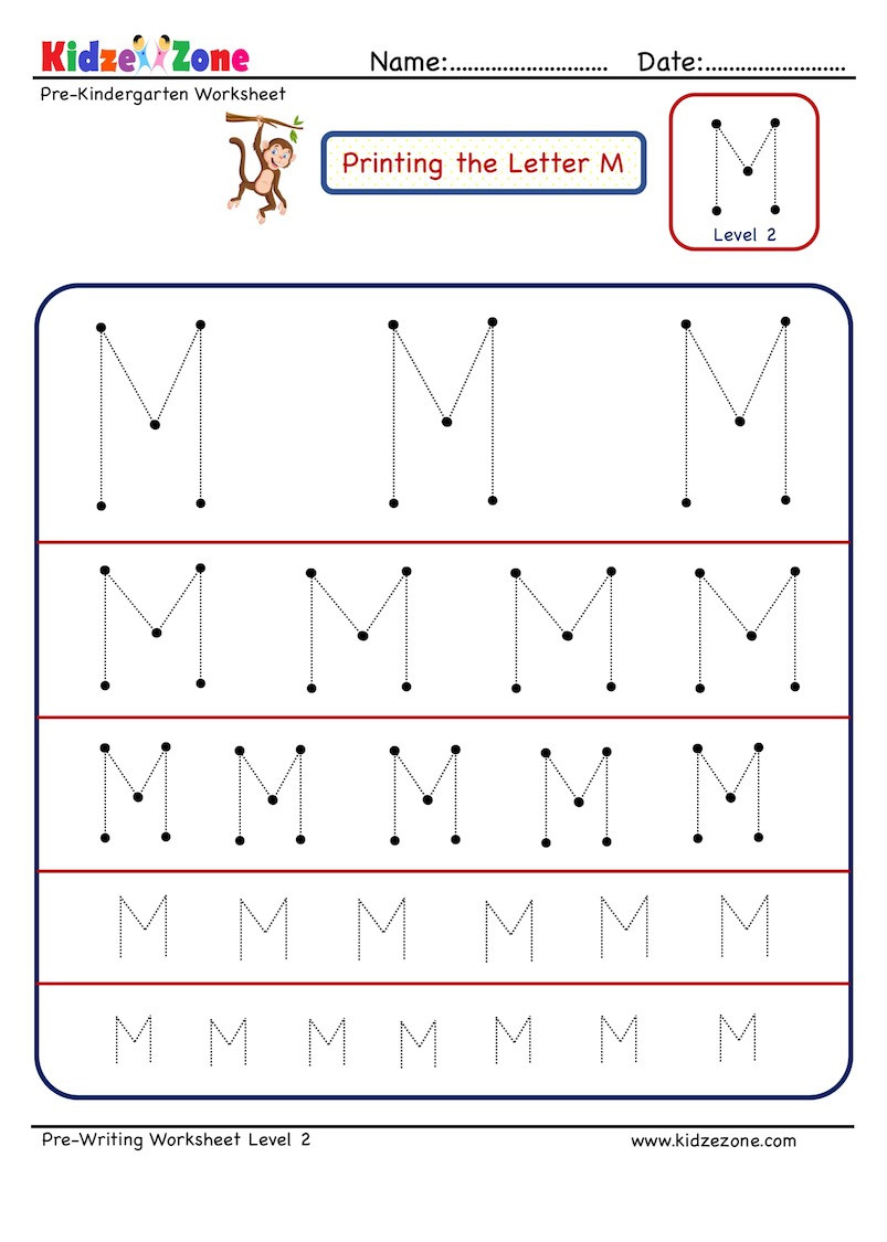 Pre Writing Letter M Tracing worksheet Different Sizes