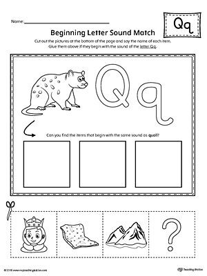 Letter Q Preschool Worksheets Letter Q Beginning sound Picture Match Worksheet