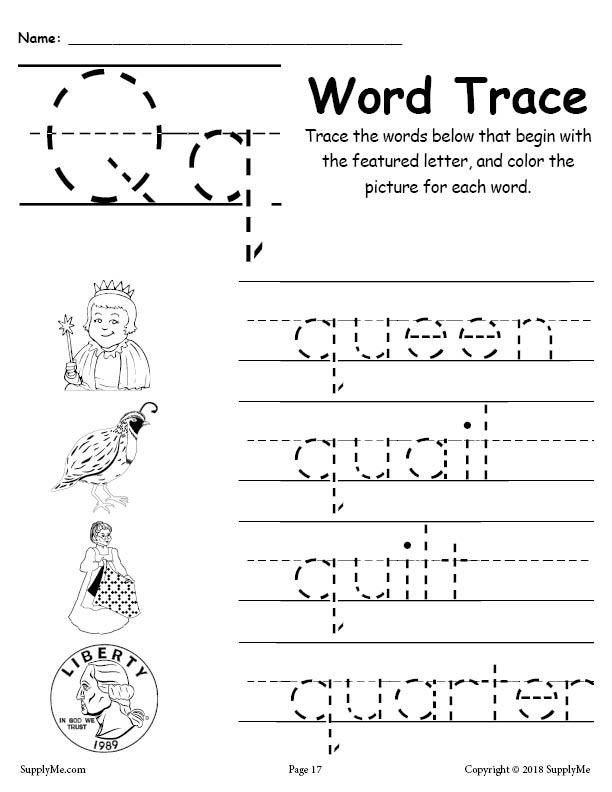 Letter Q Preschool Worksheets Letter Q Words Alphabet Tracing Worksheet