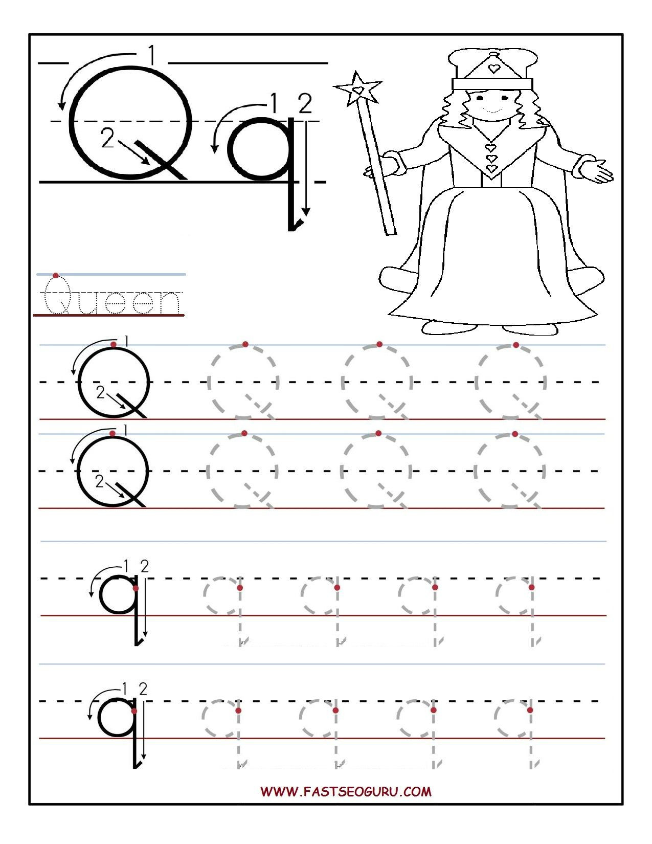 Letter Q Preschool Worksheets Printable Letter Q Tracing Worksheets for Preschool