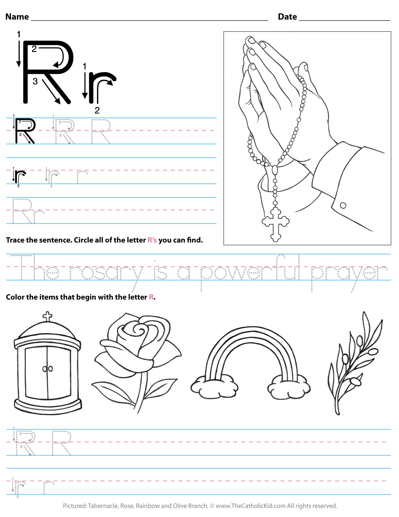 catholic alphabet letter r worksheet preschool kindergarten cnt mls
