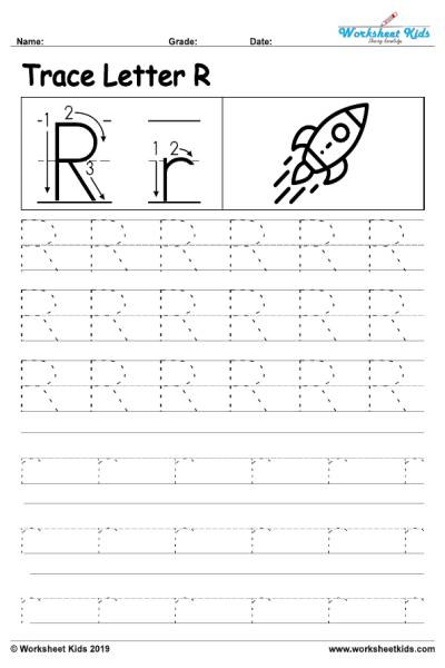 Alphabet letter R writing practice sheet 001