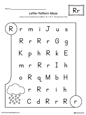 Letter Pattern Maze Letter R Worksheet
